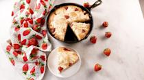 """<p>This one-pan wonder might just be your new favorite summer dessert.</p><p>Get the recipe from <a href=""""https://www.delish.com/cooking/recipe-ideas/a27103689/strawberry-cheesecake-skillet-cake-recipe/"""" rel=""""nofollow noopener"""" target=""""_blank"""" data-ylk=""""slk:Delish"""" class=""""link rapid-noclick-resp"""">Delish</a>.</p>"""