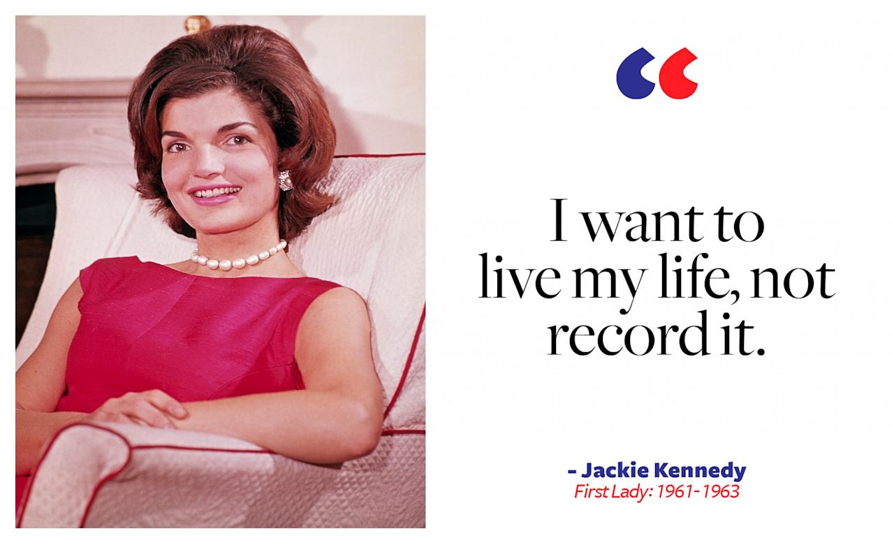 <p>Jackie Kennedy was one of our nation's most beloved first ladies, known for her grace and impeccable style. She was almost always spotted wearing a strand of pearls. As first lady, she helped bring inside the White House an unprecedented level of culture and art. But her strength and perseverance became most apparent after her husband's assassination. </p>