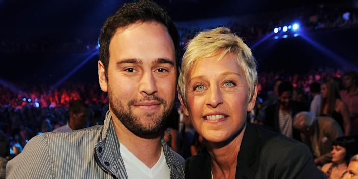 Scooter Braun with Ellen DeGeneres.