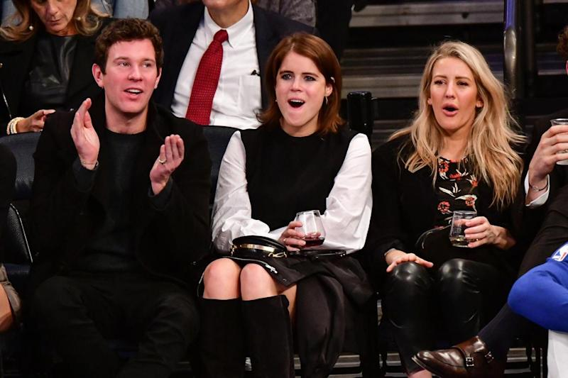 Jack Brooksbank sits next to Princess Eugenie and Ellie Goulding (WireImage)
