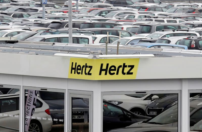 FILE PHOTO:  A logo of the American car rental company Hertz is seen at Bordeaux Airport in Merignac
