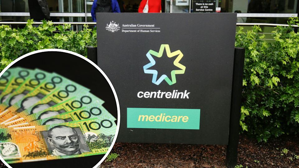 Centrelink sign plus $100 notes