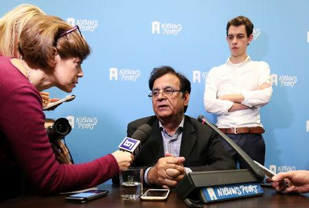 Saiful Mulook, lawyer of Christian woman Asia Bibi, addresses a news conference at the International Press Centre in The Hague