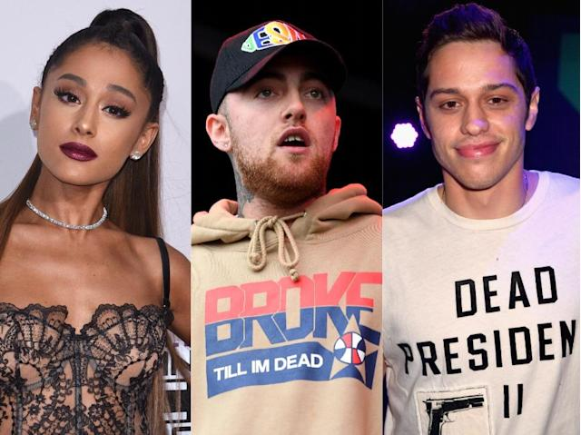 Ariana Grande, Mac Miller, Pete Davidson. (Photo: Getty Images)