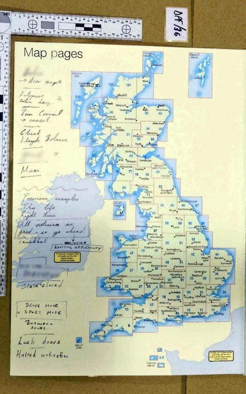 A road atlas on which Khalid Masood wrote on