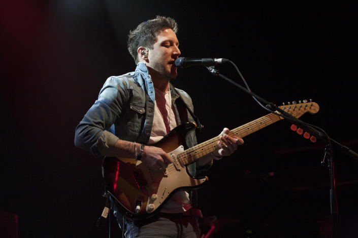 X Factor winner Matt Cardle performs at the O2 Shepherds Bush Empire, London, in 2014. (PA)
