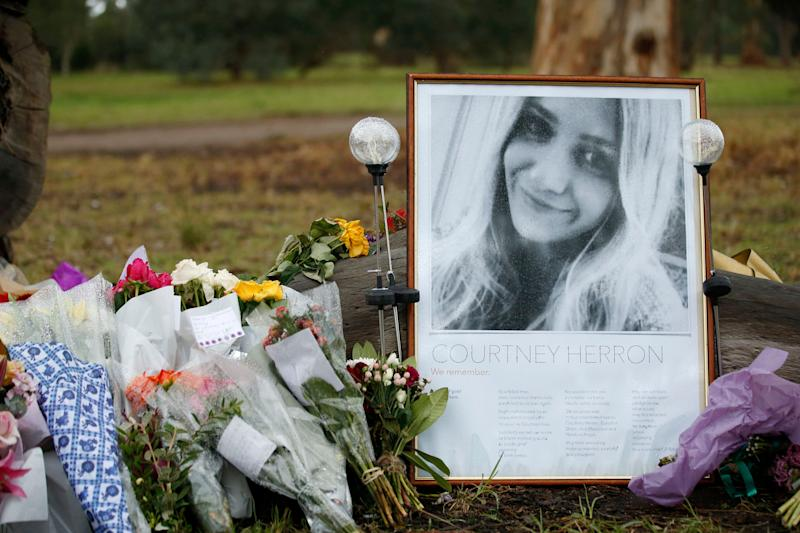 A makeshift shrine for Courtney is seen at Royal Park on May 31, 2019 in Melbourne.