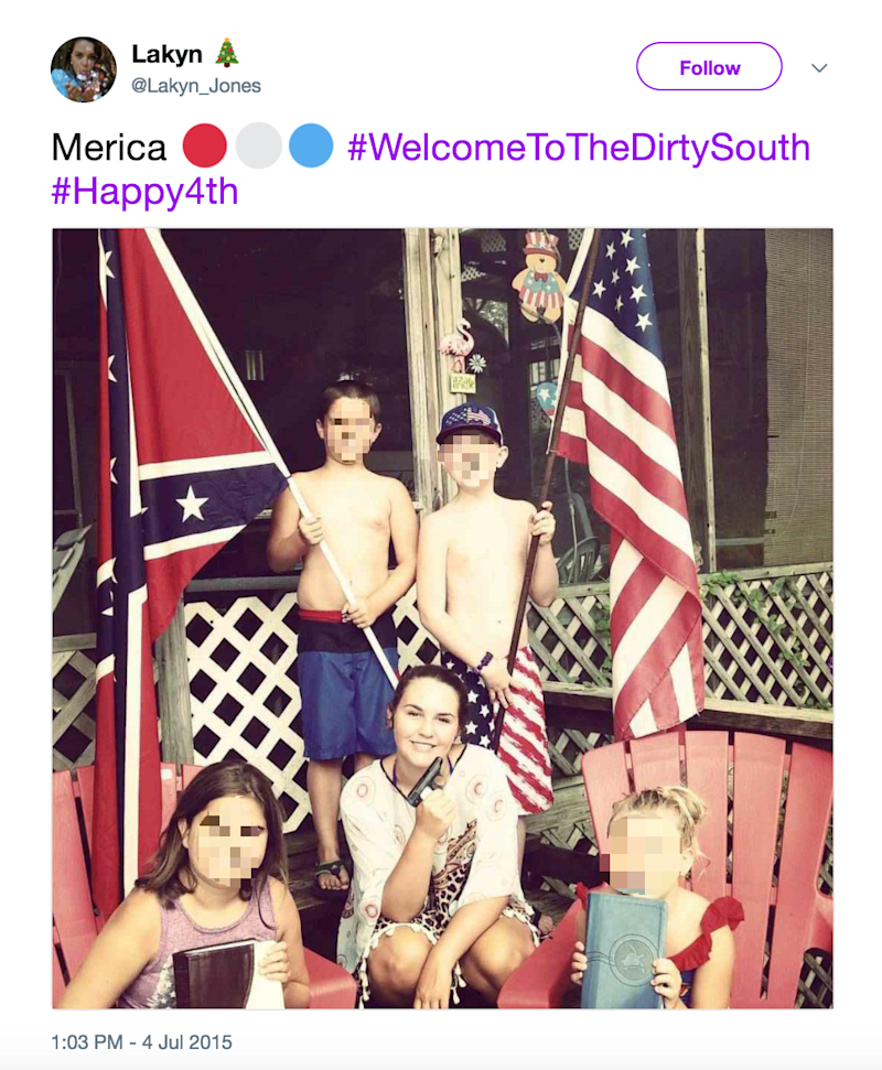 This tweet from Keaton Jones's sister shows members of the Jones family posing with a Confederate flag (Twitter/Lakyn Jones)