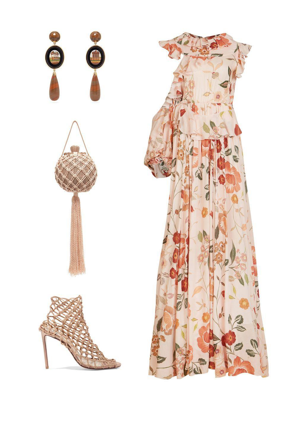 """<p>Bohemian florals, pastoral vibes and Victorian necklines have been au courant for some time now, and daring to take them to an edgier place in styling feels more in line with the rich feeling of fall.</p><p><em><strong>Lana Mueller</strong> gown, $905, <a rel=""""nofollow noopener"""" href=""""https://www.modaoperandi.com/lana-mueller-ss19/jua-frilled-maxi-dress"""" target=""""_blank"""" data-ylk=""""slk:modaoperandi.com"""" class=""""link rapid-noclick-resp"""">modaoperandi.com</a>; <strong>Ulla Johnson</strong> bag, $425, <a rel=""""nofollow noopener"""" href=""""https://www.modaoperandi.com/ulla-johnson-pf18/leia-bag?size=OS&mid=37385&utm_medium=Linkshare&utm_source=6Km1lFswsiY&utm_content=6Km1lFswsiY&siteID=6Km1lFswsiY-XCrkO72MxzJwxDi8D05TGQ&utm_campaign=US_Affiliates&utm_content=%3CLSNLNKTYPE%3E"""" target=""""_blank"""" data-ylk=""""slk:shopBAZAAR.com"""" class=""""link rapid-noclick-resp"""">shopBAZAAR.com</a>; <strong>Brigid Blanco</strong> earrings, $8,565, <a rel=""""nofollow noopener"""" href=""""https://www.matchesfashion.com/us/products/Brigid-Blanco-Mosaic-quartz-%26-18kt-gold-earrings-1239584"""" target=""""_blank"""" data-ylk=""""slk:matchesfashion.com"""" class=""""link rapid-noclick-resp"""">matchesfashion.com</a>; <strong>Francesco Russo</strong> sock boots, $990, <a rel=""""nofollow noopener"""" href=""""https://www.net-a-porter.com/us/en/product/1071616/francesco_russo/stretch-crochet-sock-boots"""" target=""""_blank"""" data-ylk=""""slk:netaporter.com"""" class=""""link rapid-noclick-resp"""">netaporter.com</a>.</em></p>"""