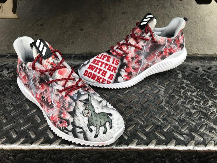 Zack Cozart got a pair of custom donkey shoes from teammate Adam Duvall. (Soles By Sir)