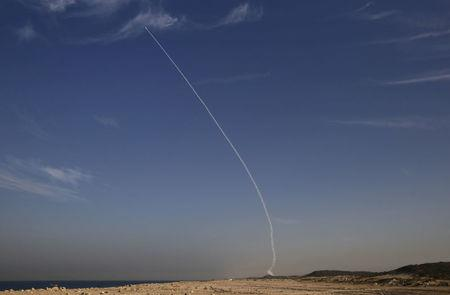 "FILE PHOTO: An ""Arrow 3"" ballistic missile interceptor is seen during its test launch near Ashdod, Israel"
