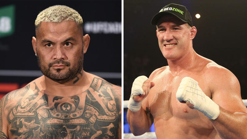 Mark Hunt (pictured left) and Paul Gallen (pictured right). (Getty Images)