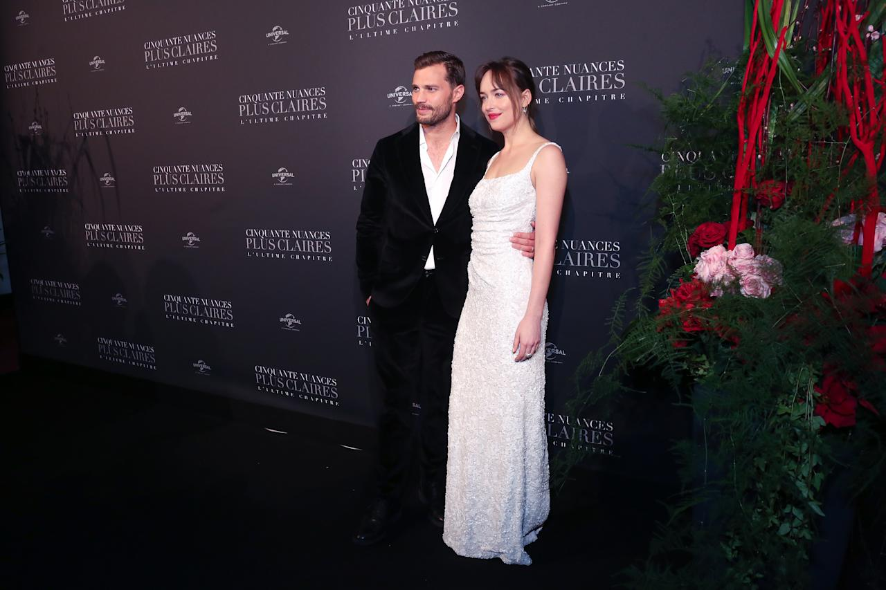 <p>Jamie Dornan and Dakota Johnson photographed for the Fifty Shade Freed Premiere on Feb 6, 2018 in Paris, France. (Photo by Olivier VIGERIE / Contour by Getty Images) </p>