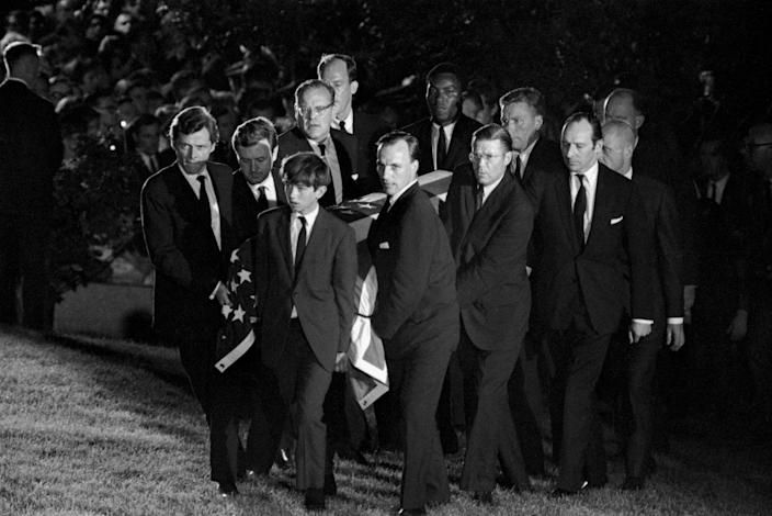 Pallbearers carry the coffin of Sen. Robert F. Kennedy at Arlington National Cemetery on June 9, 1968