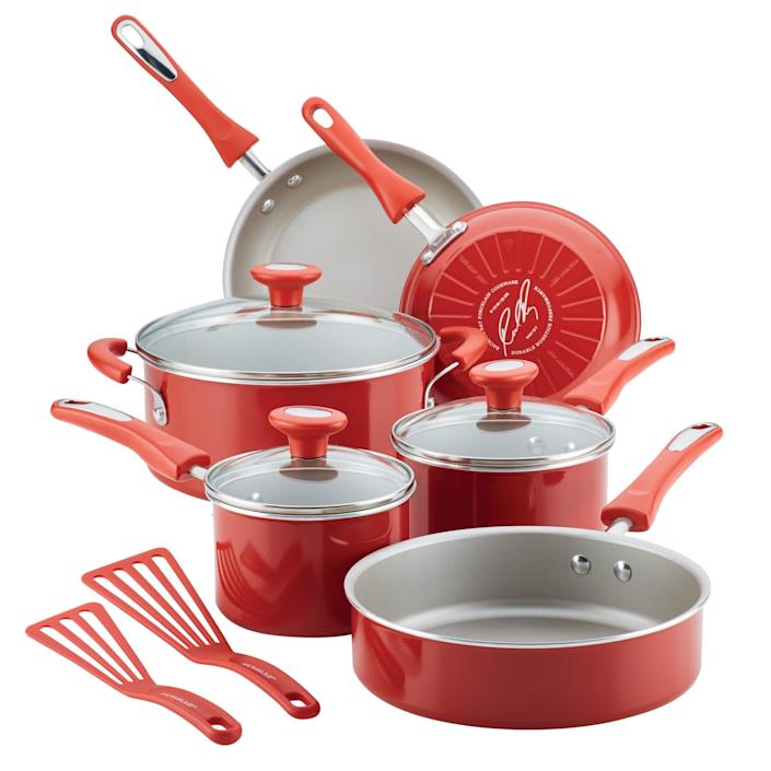 <p>Revamp your cooking set with the bright and fun <span>Rachael Ray 11-Piece Get Cooking! Pots and Pans Set/Cookware Set</span> ($75, originally $105).</p>