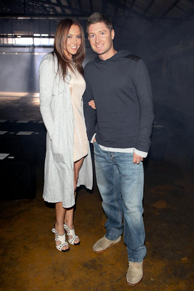 SYDNEY, AUSTRALIA - MAY 05:  Kyly Boldly and Michael Clarke arrive at the Josh Goot catwalk during Rosemount Australian Fashion Week Spring/Summer 2011/12 at The Ity Ford Building on May 5, 2011 in Sydney, Australia.  (Photo by Caroline McCredie/Getty Images)