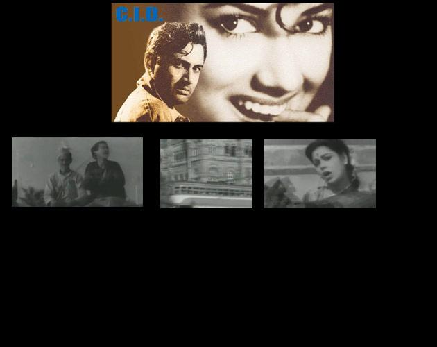 Mohammed Rafi and Geeta Dutt sang The Bombay anthem in CID.  The irony of a pickpocket asking people to be careful in the city of satta-patta-chori-race was contrasted with the heartlessness of the city while the female voice at the end brought out the fairness of the city.  Quite surprisingly, this was probably the best song of the film but was not filmed on the (very handsome) hero but on character actors. But then, this song did not need a hero. It needed only a heroine. The one who wears a Queen's Necklace.