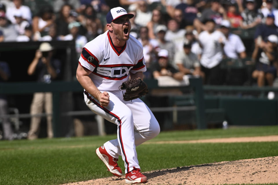Chicago White Sox relief pitcher Liam Hendriks reacts after striking out Cleveland Indians' Oscar Mercado during the ninth inning of a baseball game, Sunday, Aug. 1, 2021, in Chicago. (AP Photo/Matt Marton)