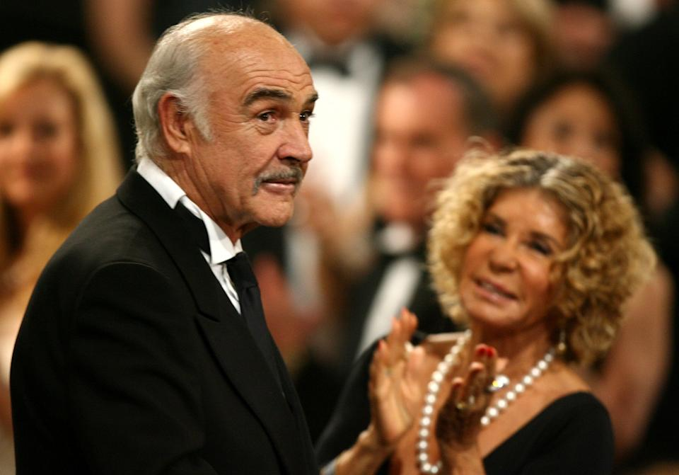 Micheline Roquebrune (pictured with her husband Sean Connery in 2006 at his AFI Life Achievement Award tribute) says the Scottish actor had dementia. (Photo: Kevin Winter/Getty Images for AFI)