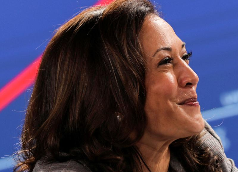 Presumptive Democratic vice presidential nominee Kamala Harris participates in a briefing on the coronavirus during a campaign stop in Wilmington, Delaware, on Aug. 13, 2020.