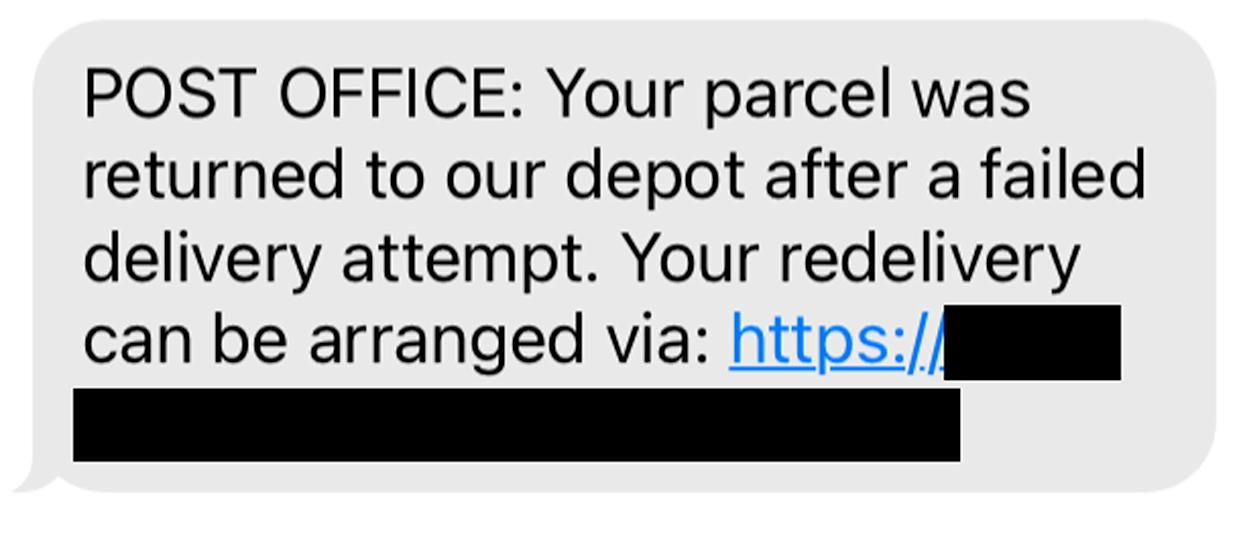 The Post Office scam text reported by Trading Standards (Trading Standards/PA)