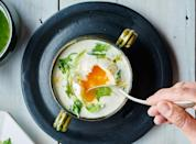 "For this soup recipe, whack the garlic cloves with the side of a chef's knife; the papery skins will loosen from the cloves and you can slip them right off. <a href=""https://www.bonappetit.com/recipe/garlic-soup-with-potatoes-and-poached-eggs?mbid=synd_yahoo_rss"" rel=""nofollow noopener"" target=""_blank"" data-ylk=""slk:See recipe."" class=""link rapid-noclick-resp"">See recipe.</a>"