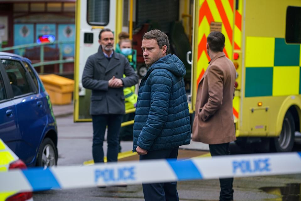 FROM ITV  STRICT EMBARGO -  No Use Before Tuesday 26th January 2021  Coronation Street - Ep 10238  Monday 1st February 2021 - 2nd Ep  Terrified, Summer Spellman [HARRIET BIBBY] dashes out of the flat into the path of an oncoming van. As Billy Mayhew [DANIEL BROCKLEBANK], Paul Ashdale [PETER ASH] and Todd Grimshaw [GARETH PIERCE] return home, they're horrified to find Summer lying in the road. Craig Tinker [COLSON SMITH] calls to investigate the burglary, Paul steels himself and reveals that the culprit was Will. A furious Billy reads the riot act to Paul for bringing Will into their lives.   Picture contact David.crook@itv.com  Photographer - Danielle Baguley  This photograph is (C) ITV Plc and can only be reproduced for editorial purposes directly in connection with the programme or event mentioned above, or ITV plc. Once made available by ITV plc Picture Desk, this photograph can be reproduced once only up until the transmission [TX] date and no reproduction fee will be charged. Any subsequent usage may incur a fee. This photograph must not be manipulated [excluding basic cropping] in a manner which alters the visual appearance of the person photographed deemed detrimental or inappropriate by ITV plc Picture Desk. This photograph must not be syndicated to any other company, publication or website, or permanently archived, without the express written permission of ITV Picture Desk. Full Terms and conditions are available on  www.itv.com/presscentre/itvpictures/terms