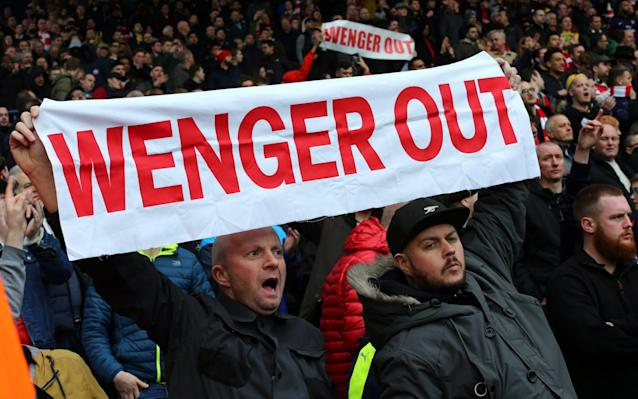 <span>Some Arsenal fans have reached the end of their tether</span> <span>Credit: EPA </span>