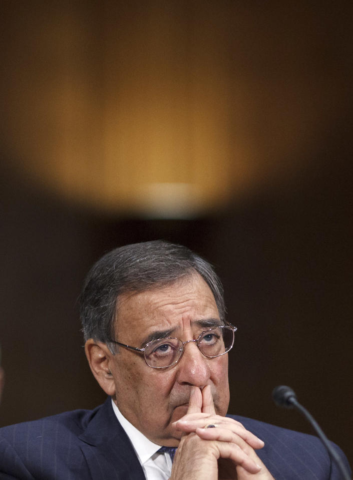 Defense Secretary Leon Panetta testifies on Capitol Hill in Washington, Wednesday March 7, 2012, before the Senate Armed Services Committee hearing on the crisis in Syria and the risks for U.S. involvement. (AP Photo/J. Scott Applewhite)