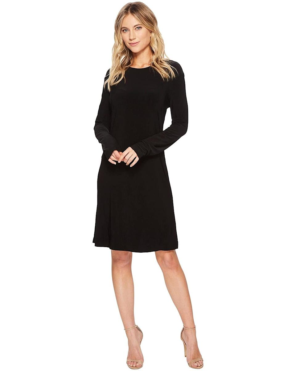 """<h2>Norma Kamali Long Sleeve Crew Dress To Knee</h2><br><strong><em>The LBD</em></strong><br><br>Because you simply can't go wrong with a <a href=""""https://www.refinery29.com/en-us/2020/10/10129081/emily-ratajkowski-aya-muse-little-black-dress"""" rel=""""sponsored"""" target=""""_blank"""" data-ylk=""""slk:little black dress"""" class=""""link rapid-noclick-resp"""">little black dress</a> — or anything Norma Kamali — reviewers agree that this knee-length crew dress is a pretty solid pick for fall.<br><br><strong>The Hype: </strong>4 out of 5 stars; 17 reviews on Zappos.com<br><br><strong>What They're Saying</strong>: """"This dress is a favorite - perfect LBD! It is the typical Norma Kamali slinky fabric that is slightly heavy, but it is still quite breathable in warmer weather. It travels well - take it out of your suitcase, shake it, hang it up and any wrinkles will fall right out. Great with everything from a cardi and flats or denim jacket and wedges by day to stiletto sandals and a statement necklace for a night out!"""" — JennyCate, Zappos reviewer<br><br><em>Shop</em> <strong><em><span>Zappos</span></em></strong><br><br><br><strong>Norma Kamali</strong> Long Sleeve Crew Dress To Knee, $, available at <a href=""""https://go.skimresources.com/?id=30283X879131&url=https%3A%2F%2Fwww.zappos.com%2Fp%2Fnorma-kamali-long-sleeve-crew-dress-to-knee-black%2Fproduct%2F8833094%2Fcolor%2F3"""" rel=""""sponsored"""" target=""""_blank"""" data-ylk=""""slk:Zappos"""" class=""""link rapid-noclick-resp"""">Zappos</a>"""