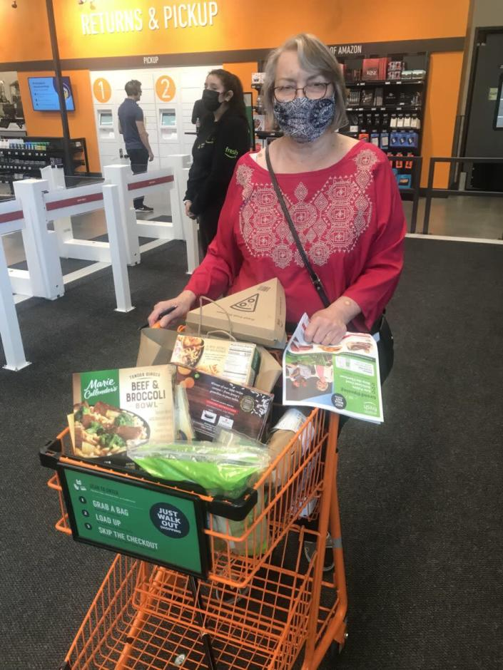 Customer with full shopping cart
