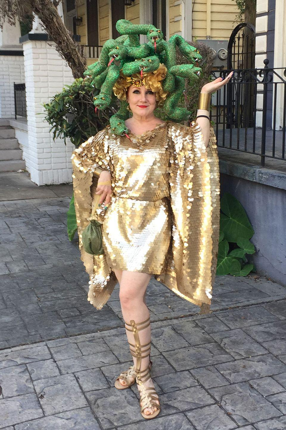 "<p>We're in awe looking at this glammed up <a href=""https://www.amazon.com/Disguise-Womens-Medusa-Costume/dp/B00J4KUYFI?tag=syn-yahoo-20&ascsubtag=%5Bartid%7C10055.g.23653854%5Bsrc%7Cyahoo-us"" rel=""nofollow noopener"" target=""_blank"" data-ylk=""slk:Medusa costume"" class=""link rapid-noclick-resp"">Medusa costume </a>from <a href=""https://www.instagram.com/nolacostumes/"" rel=""nofollow noopener"" target=""_blank"" data-ylk=""slk:a New Orleans-based designer"" class=""link rapid-noclick-resp"">a New Orleans-based designer</a>. </p>"