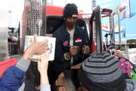 <p>Travis Scott promotes his new drink Cacti to fans in Hollywood on Monday.</p>