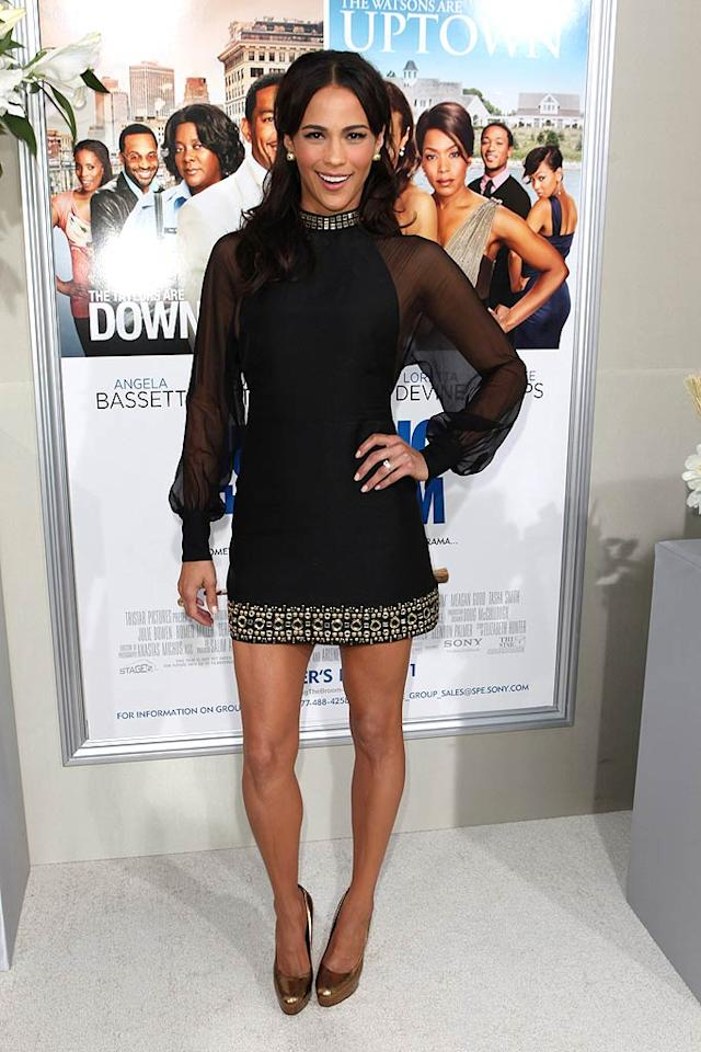 "Her new movie, ""Jumping the Broom,"" isn't setting the box office on fire, but Paula Patton certainly sizzled at the film's premiere in an embellished Moschino mini and metallic Brian Atwood pumps. Chelsea Lauren/<a href=""http://www.wireimage.com"" target=""new"">WireImage.com</a> - May 4, 2011"