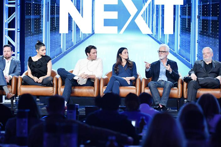 (L-R) Michael Mosley, Eve Marlow, Jason Butler Harner, Fernanda Andrade, John Slattery and Manny Coto of 'Next' speak during the 2020 Winter TCA Press Tour. (Photo by Amy Sussman/Getty Images)