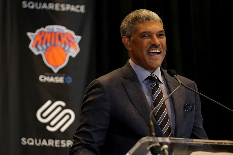 NEW YORK, NY - OCTOBER 10: New York Knicks President Steve Mills speaks at the unveiling of the Knicks' jersey sponsorship with Squarespace at Madison Square Garden on October 10, 2017 in New York City. (Photo by Abbie Parr/Getty Images)