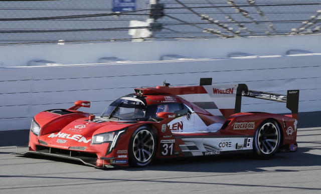 Whelen Engineering Racing, Cadillac DPi is shown during the Rolex 24 hour auto race at Daytona International Speedway, Saturday, Jan. 25, 2020, in Daytona Beach, Fla. (AP Photo/Terry Renna)