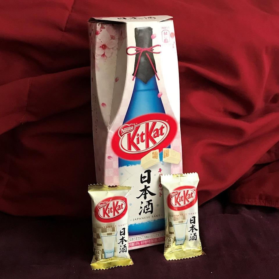 "<p>Big-name brands have added rum, tequila and vodka to chocolate before, so we shouldn't be so turned off by this sake-flavoured <a rel=""nofollow"" href=""http://www.ebay.com/itm/Nestle-KitKat-Japanese-Sake-Flavored-Chocolate-OPENED-Box-with-2-Kit-Kat-Bars-/172770435474?hash=item2839eba192:g:rQIAAOSwf~9ZYUq6"">KitKat bar</a>. </p><p>Yet something about it just seems wrong.</p>"