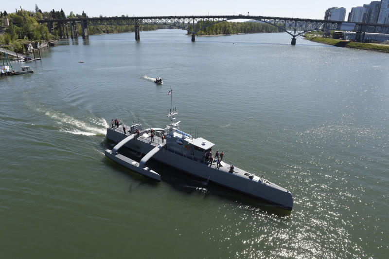 The Sea Hunter autonomous ship turns after coming out of port.