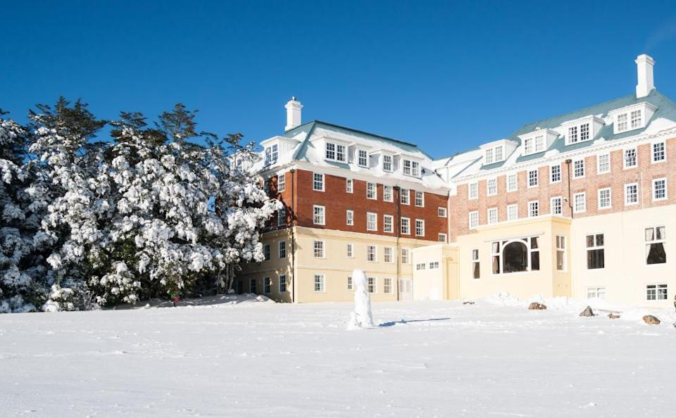 The Tongariro Chateau Hotel, built in 1920, in mid-winter.