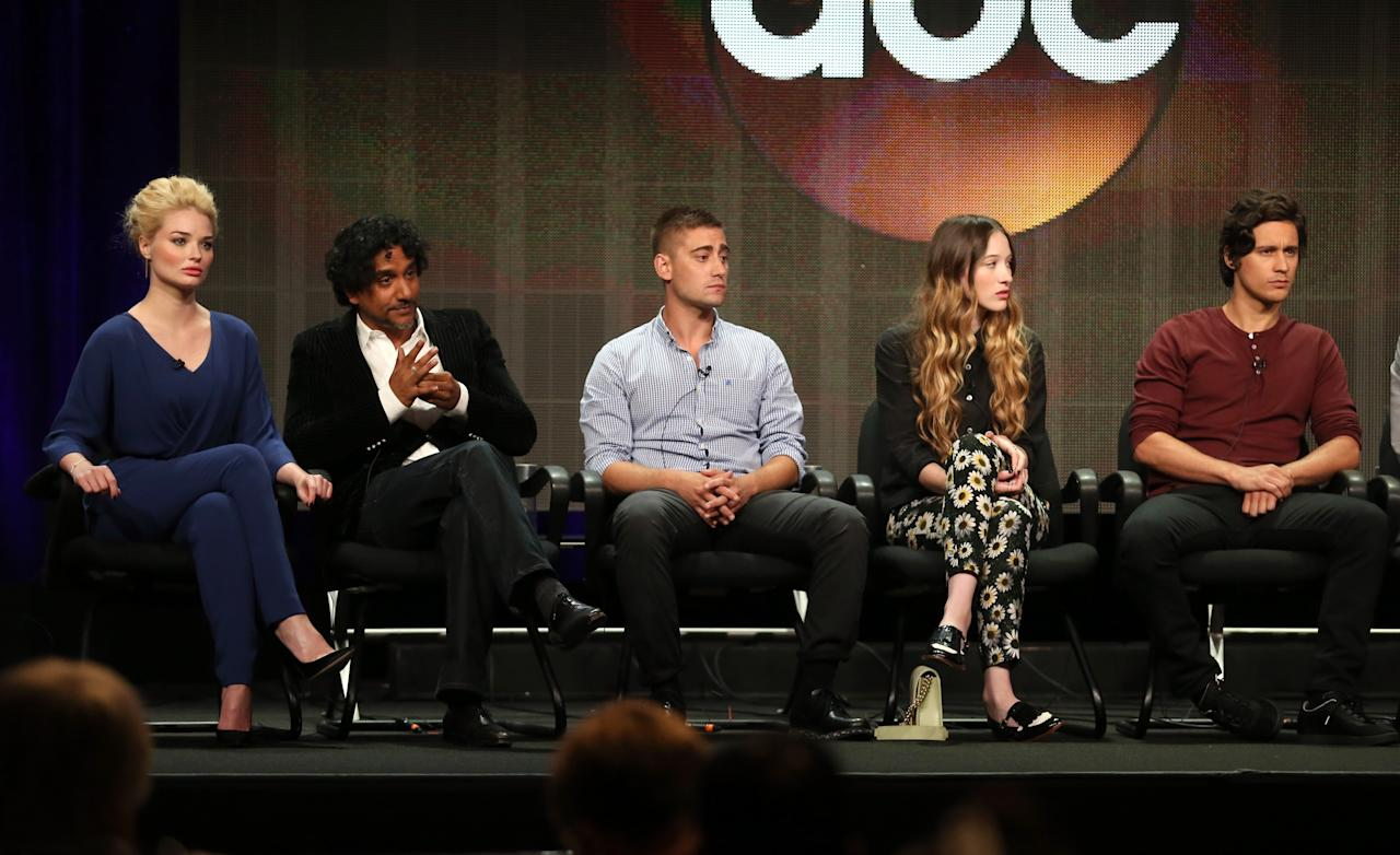 "BEVERLY HILLS, CA - AUGUST 04: Actors Emma Rigby, Naveen Andrews, Michael Socha, Emma Rigby, and Peter Gadiot speak onstage during the ""Once Upon a Time in Wonderland"" panel discussion at the Disney/ABC Television Group portion of the Television Critics Association Summer Press Tour at the Beverly Hilton Hotel on August 4, 2013 in Beverly Hills, California. (Photo by Frederick M. Brown/Getty Images)"
