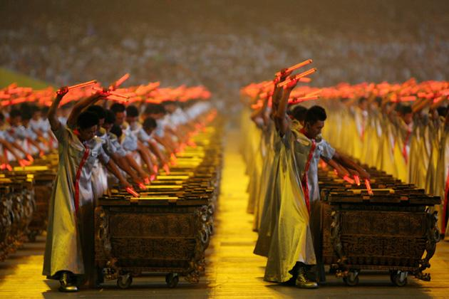 BEIJING - AUGUST 08:  Drummers perform during the Opening Ceremony for the 2008 Beijing Summer Olympics at the National Stadium on August 8, 2008 in Beijing, China.  (Photo by Streeter Lecka/Getty Images)