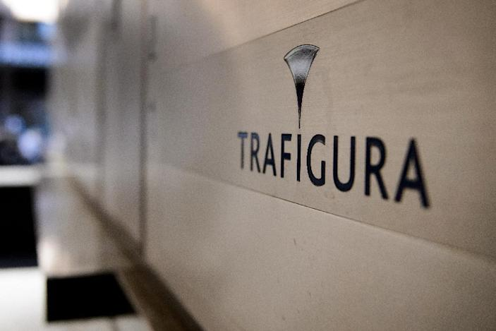 The logo of the multinational oil firm Trafigura pictured at a branch in Geneva on October 2, 2012 (AFP Photo/Fabrice Coffrini)