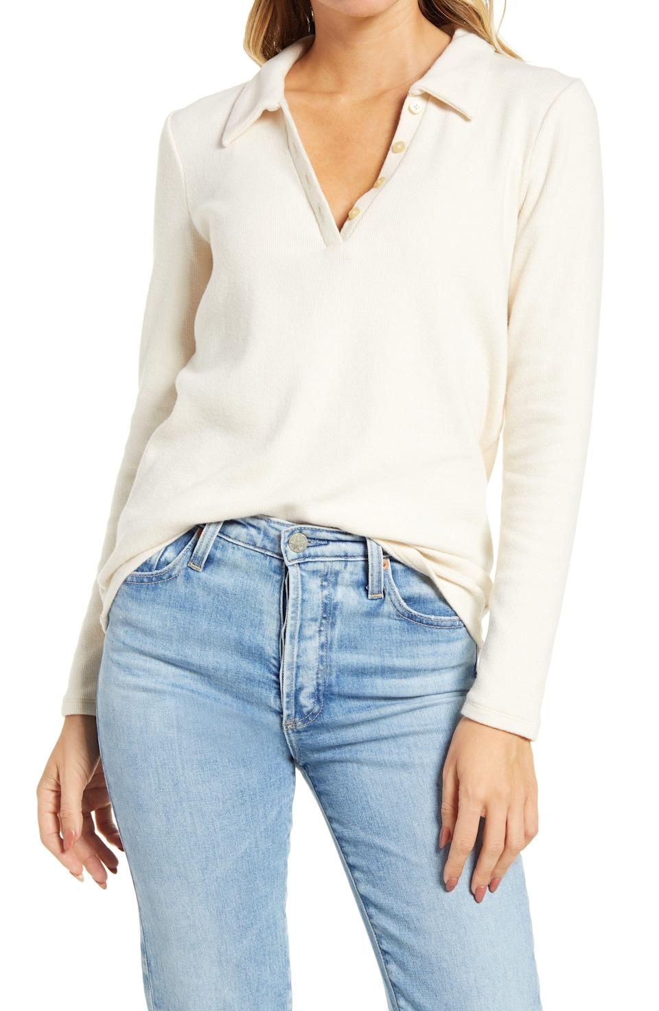 """<p><strong>MADEWELL</strong></p><p>nordstrom.com</p><p><strong>$38.50</strong></p><p><a href=""""https://go.redirectingat.com?id=74968X1596630&url=https%3A%2F%2Fwww.nordstrom.com%2Fs%2Fmadewell-womens-plush-ribbed-polo-shirt%2F5739854&sref=https%3A%2F%2Fwww.elle.com%2Ffashion%2Fshopping%2Fg34741930%2Fnordstrom-12-days-of-cyber-savings-sale%2F"""" rel=""""nofollow noopener"""" target=""""_blank"""" data-ylk=""""slk:Shop Now"""" class=""""link rapid-noclick-resp"""">Shop Now</a></p>"""