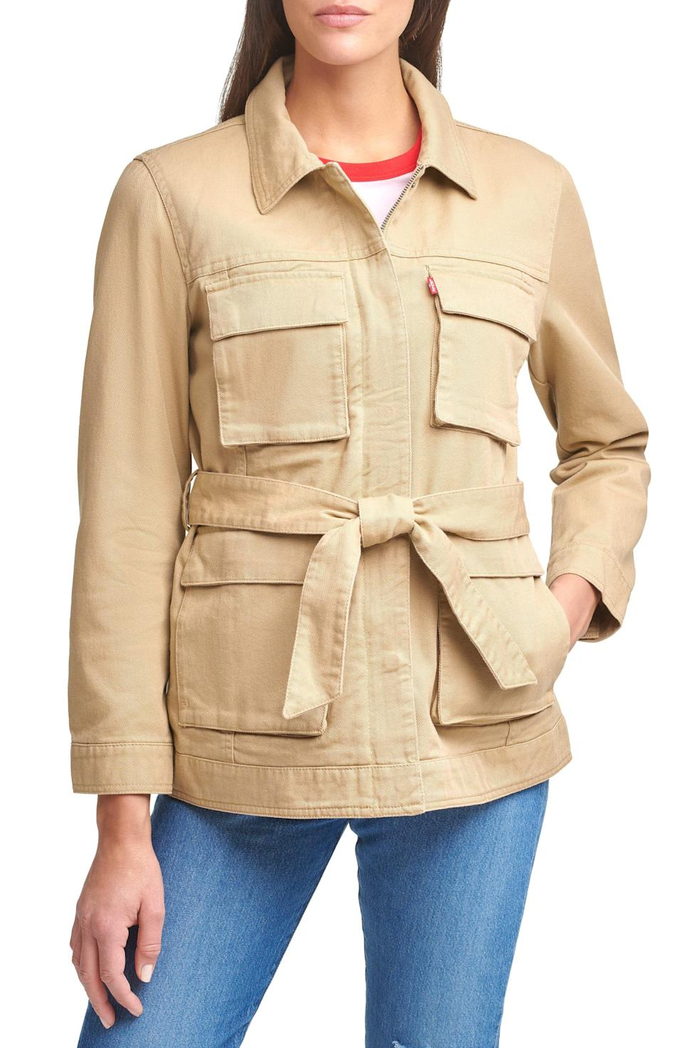 """<p><strong>Levi's</strong></p><p>nordstrom.com</p><p><strong>$150.00</strong></p><p><a href=""""https://go.redirectingat.com?id=74968X1596630&url=https%3A%2F%2Fwww.nordstrom.com%2Fs%2Flevis-safari-denim-jacket%2F5872123&sref=https%3A%2F%2Fwww.prevention.com%2Fbeauty%2Fstyle%2Fg37148346%2Fbest-jean-jackets-for-women%2F"""" rel=""""nofollow noopener"""" target=""""_blank"""" data-ylk=""""slk:Shop Now"""" class=""""link rapid-noclick-resp"""">Shop Now</a></p><p>We love the style of this pulled-together casual safari denim jacket. <strong>The belted accessory is removable and instead of buttons, you'll find a front zip with additional snap closures</strong>. Plus, you can never have enough pockets. There are four cargo flap-patch pockets on the front side to store all your necessities (like a wallet, <a href=""""https://www.prevention.com/health/a31248367/how-to-clean-cell-phone/"""" rel=""""nofollow noopener"""" target=""""_blank"""" data-ylk=""""slk:cell phone"""" class=""""link rapid-noclick-resp"""">cell phone</a>, <a href=""""https://www.prevention.com/beauty/skin-care/g26934681/best-lip-balm-with-spf/"""" rel=""""nofollow noopener"""" target=""""_blank"""" data-ylk=""""slk:lip balm"""" class=""""link rapid-noclick-resp"""">lip balm</a>, etc.)</p>"""