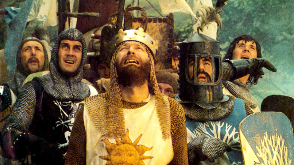 'Monty Python and the Holy Grail', lobbycard from 1975. (Photo by LMPC via Getty Images)