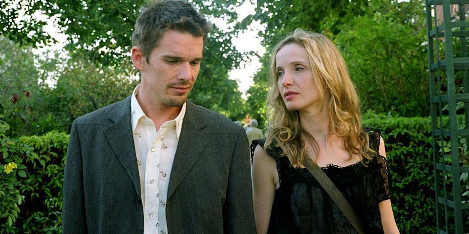 "<p>Ethan Hawke and Julie Delpy as Jesse and Celine take us from Vienna to Paris to Greece, not through action, but ruminations on love, lust and long-term commitment. <em>Before Sunrise</em>, <em>Before Sunset</em> and <em>Before Midnight</em> compose a trilogy detailing one of the best amorphous romances in cinema's history. </p><p><a class=""link rapid-noclick-resp"" href=""https://go.redirectingat.com?id=74968X1596630&url=https%3A%2F%2Fitunes.apple.com%2Fus%2Fmovie%2Fbefore-sunrise%2Fid296765959&sref=https%3A%2F%2Fwww.harpersbazaar.com%2Fculture%2Ffilm-tv%2Fg6498%2Fmost-romantic-movies%2F"" rel=""nofollow noopener"" target=""_blank"" data-ylk=""slk:Watch Before Sunrise"">Watch Before Sunrise</a></p><p><a class=""link rapid-noclick-resp"" href=""https://go.redirectingat.com?id=74968X1596630&url=https%3A%2F%2Fitunes.apple.com%2Fus%2Fmovie%2Fbefore-sunset%2Fid295621095&sref=https%3A%2F%2Fwww.harpersbazaar.com%2Fculture%2Ffilm-tv%2Fg6498%2Fmost-romantic-movies%2F"" rel=""nofollow noopener"" target=""_blank"" data-ylk=""slk:Watch Before Sunset"">Watch Before Sunset</a></p><p><a class=""link rapid-noclick-resp"" href=""https://www.amazon.com/gp/video/detail/B00FJTWK0U/?tag=syn-yahoo-20&ascsubtag=%5Bartid%7C10056.g.6498%5Bsrc%7Cyahoo-us"" rel=""nofollow noopener"" target=""_blank"" data-ylk=""slk:Watch Before Midnight"">Watch Before Midnight</a> </p>"