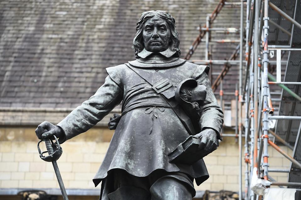 A statue of Oliver Cromwell in Parliament Square, London.