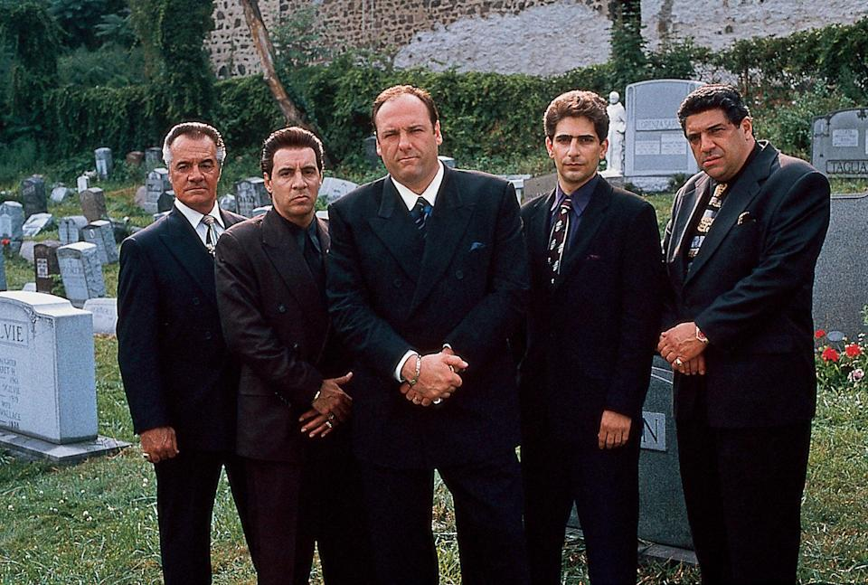 From Left to Right: Actors Tony Sirico, Steven Van Zandt, James Gandolfini, Michael Imperioli, and Vincent Pastore in from The Sopranos