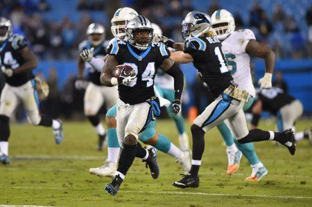 Nov 13, 2017; Charlotte, NC, USA; Carolina Panthers running back Cameron Artis-Payne (34) runs in the fourth quarter. The Panthers defeated the Dolphins 45-21 at Bank of America Stadium. Bob Donnan-USA TODAY Sports